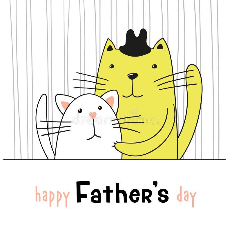 Kreskówka śliczni koty, ojczulka kot ściskają jego figlarki Ojca ` s dnia kartka z pozdrowieniami royalty ilustracja