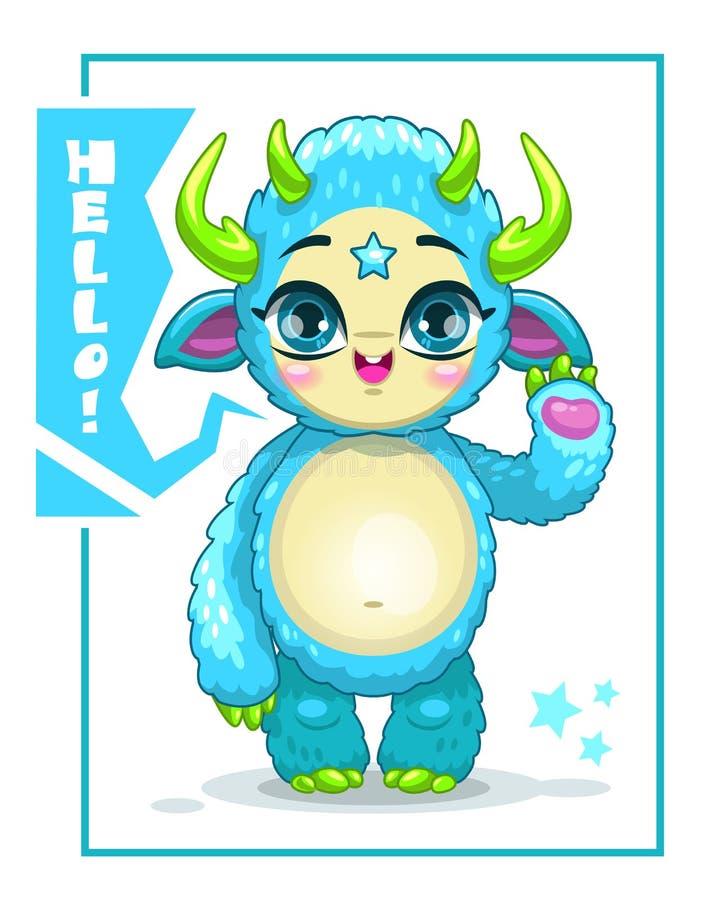 Kreskówka śliczny błękitny potwór ilustracji