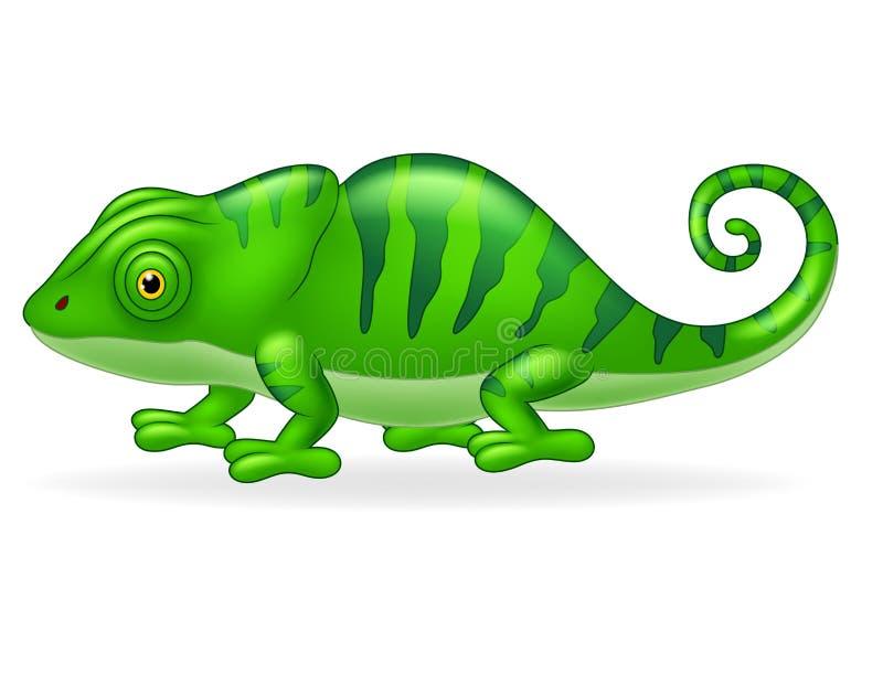 Kreskówka śliczny kameleon na białym tle ilustracja wektor