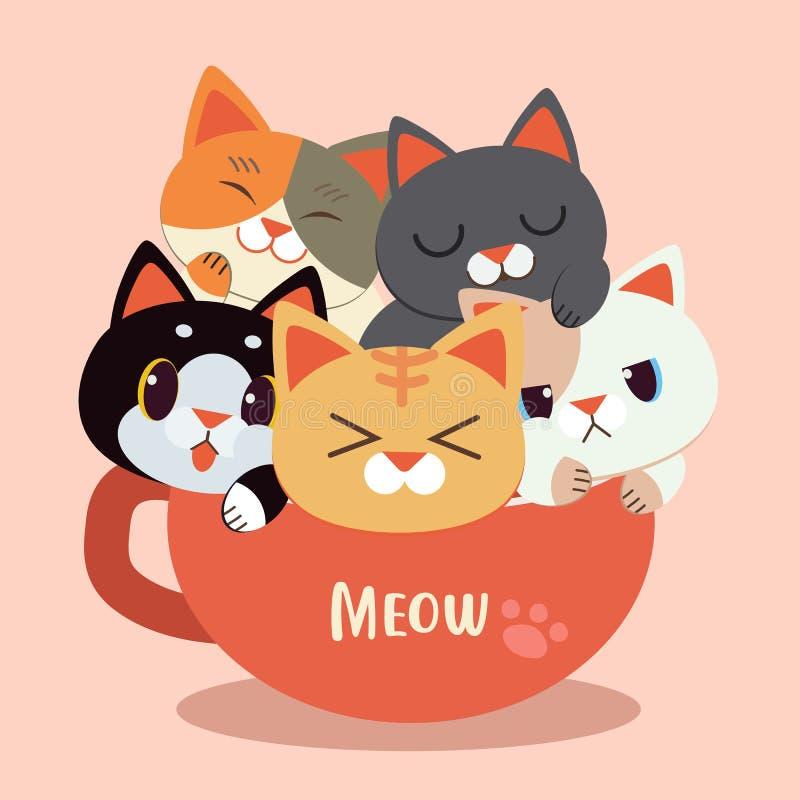 Kreskówka śliczny kot w mup filiżance royalty ilustracja