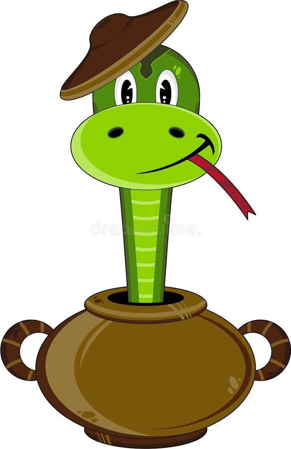 Kreskówka Śliski wąż w garnku royalty ilustracja