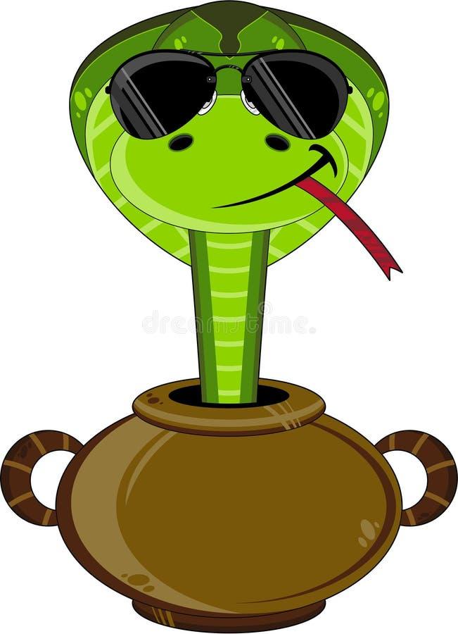 Kreskówka Śliski wąż w garnku ilustracji