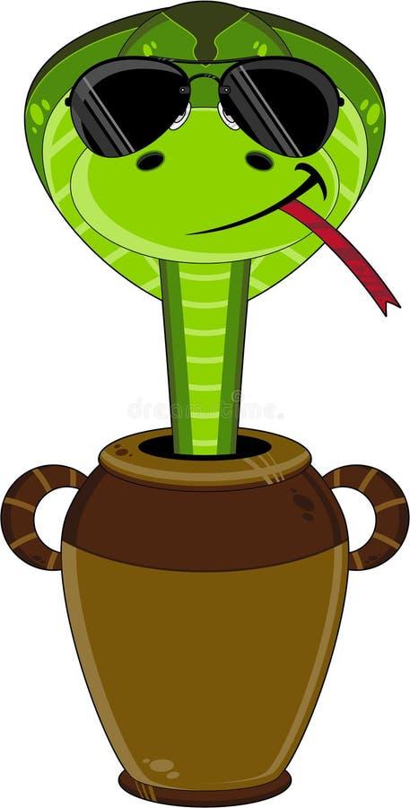 Kreskówka Śliski wąż w garnku ilustracja wektor