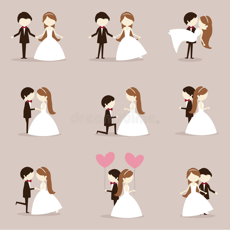 Kreskówka ślubu para royalty ilustracja