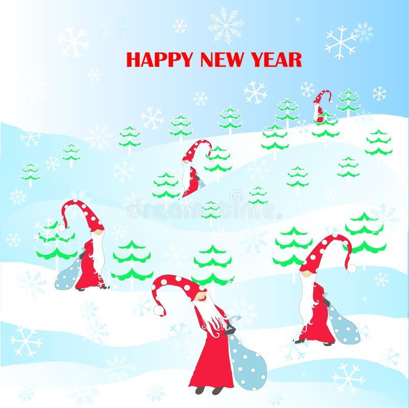 Kreskówka śmieszna, śliczni gnomy w czerwieni, kapelusz, śnieg, błękitna prezent torba, płatki śniegu, zielony jedlinowy drzewo,  ilustracji