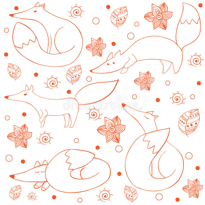 Kreskówka śmiesznego szczęśliwego lisa bezszwowy wzór ilustracja wektor