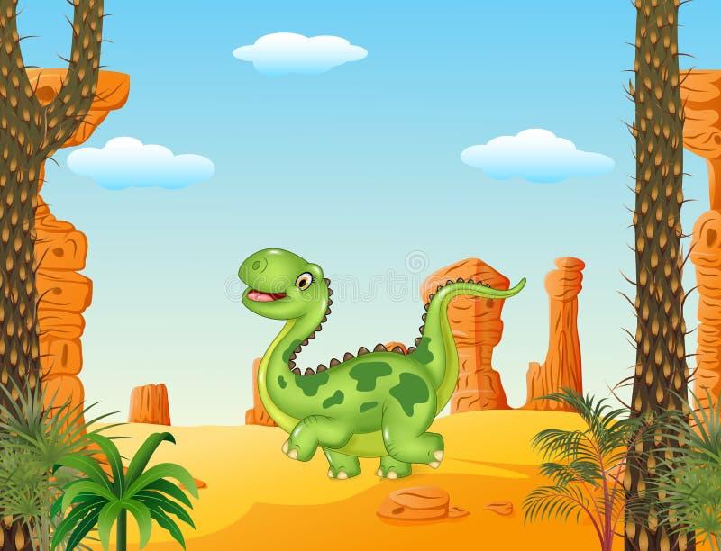 Kreskówka śmieszny chodzący dinosaur w pustynnym tle ilustracji