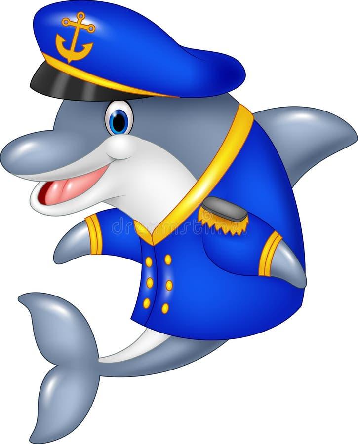 Kreskówka śmieszny delfin jest ubranym kapitanu mundur ilustracji