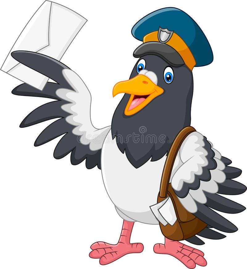 Kreskówka śmieszny gołębi ptasi dostarcza list ilustracja wektor