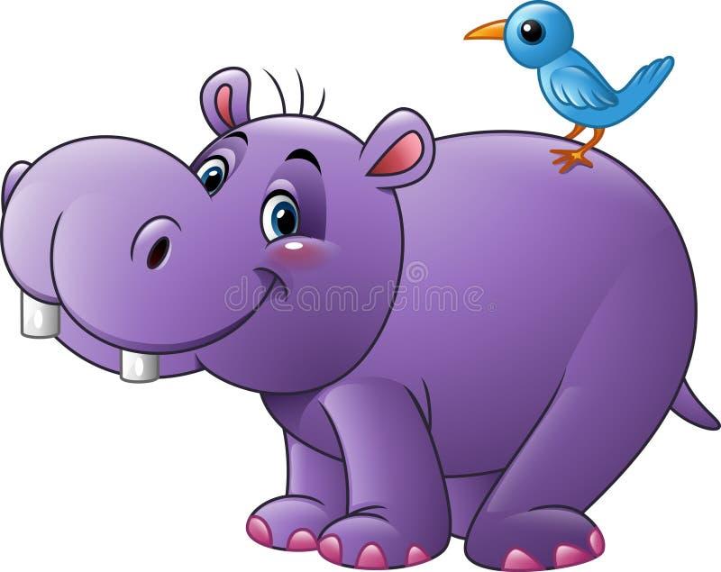 Kreskówka śmieszny hipopotam z ptakiem ilustracji