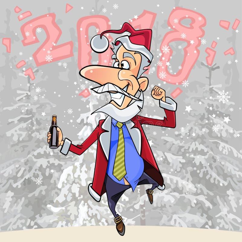 Kreskówka śmieszny mężczyzna w kostiumu Święty Mikołaj na tle 2018 ilustracja wektor