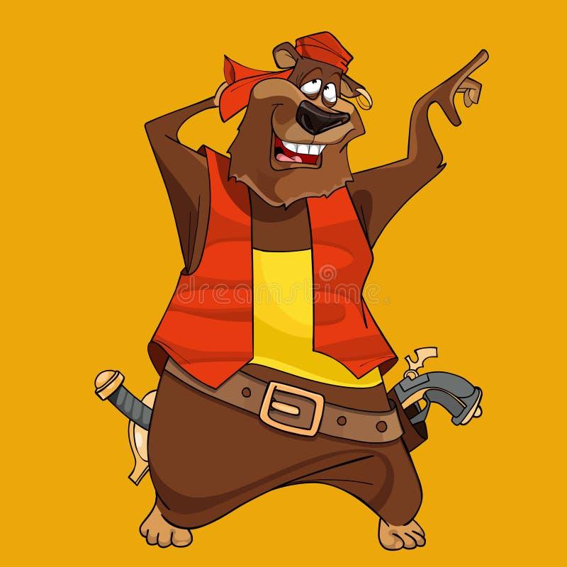Kreskówka śmieszny niedźwiedź w ubraniach pirat z krócicami ilustracja wektor