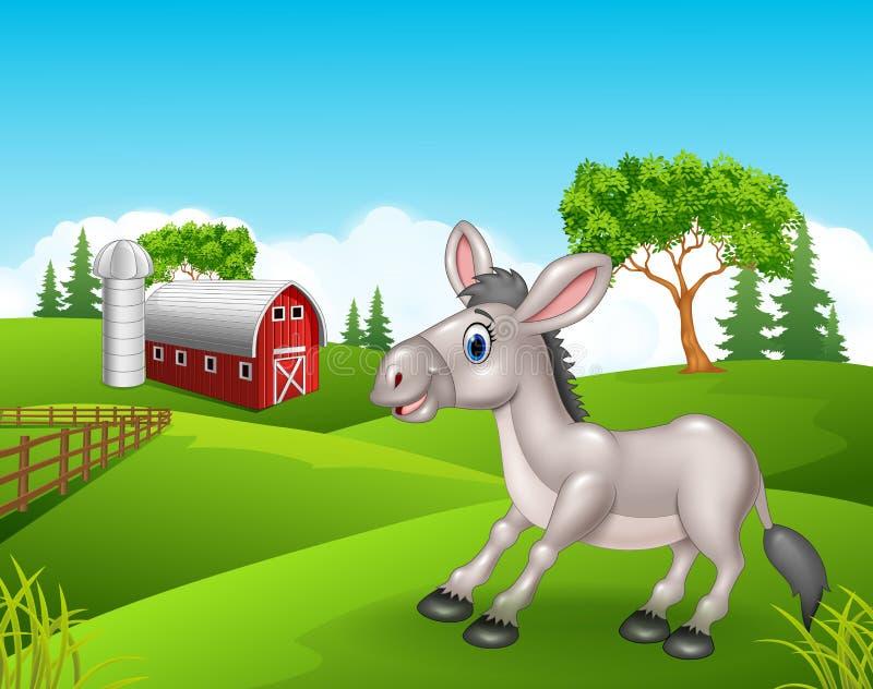 Kreskówka śmieszny osioł w gospodarstwie rolnym ilustracji
