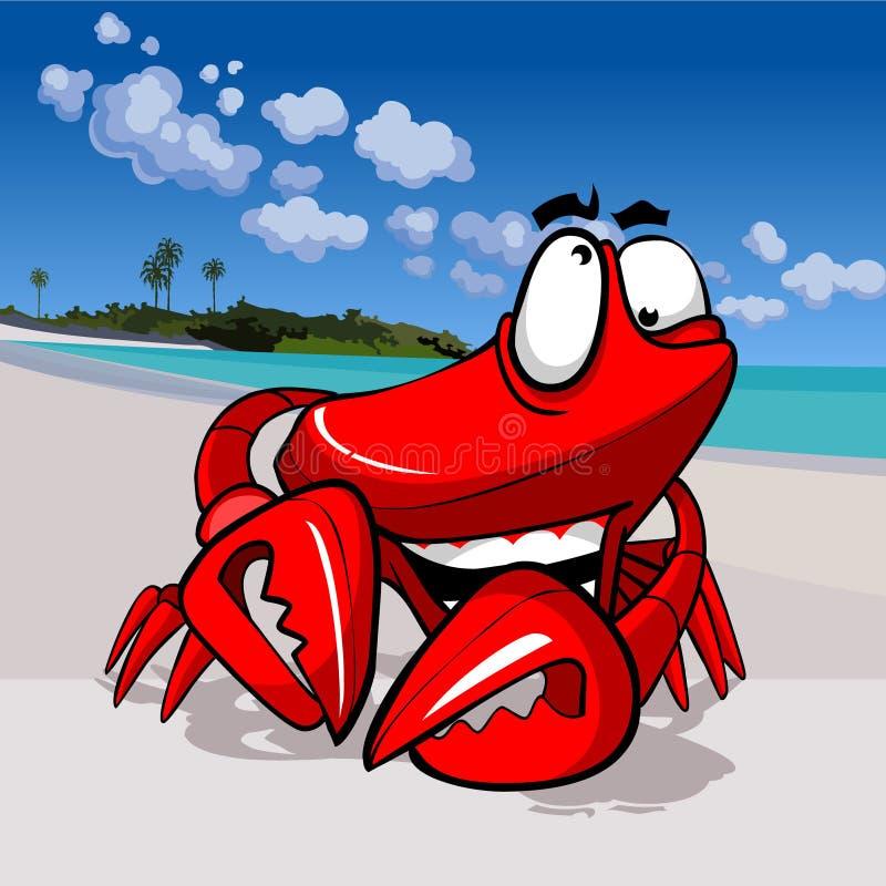Kreskówka śmieszny szczęśliwy krab na tropikalnym wybrzeżu ilustracja wektor