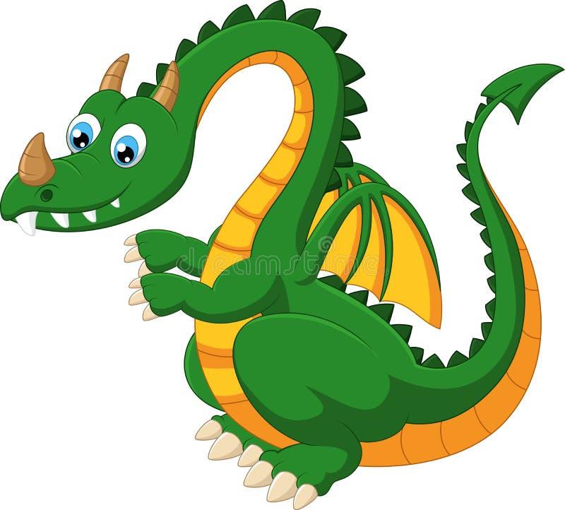 Kreskówka śmieszny zielony smok ilustracja wektor
