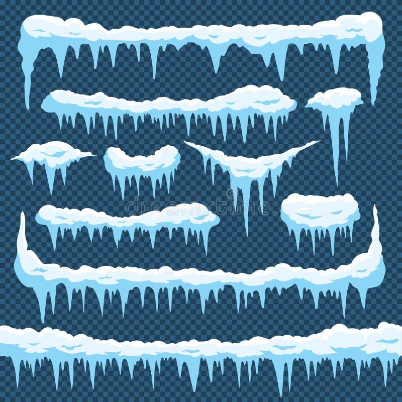 Kreskówka śniegu sople Sopla lód z snowcap na wierzchołku Zim snowing granicy dla kartka bożonarodzeniowa projekta Mróz ramy royalty ilustracja