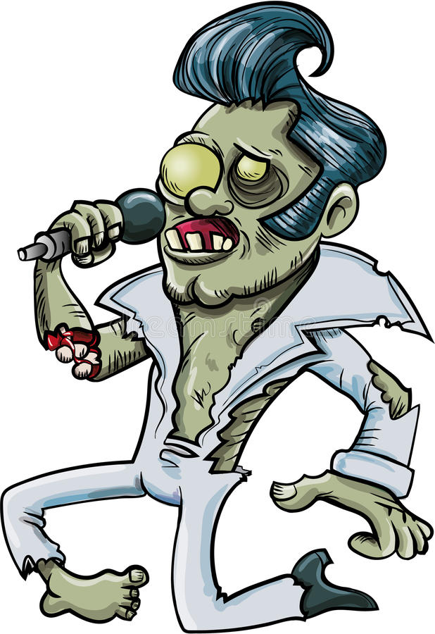 Kreskówka śpiewacki żywy trup Elvis ilustracji