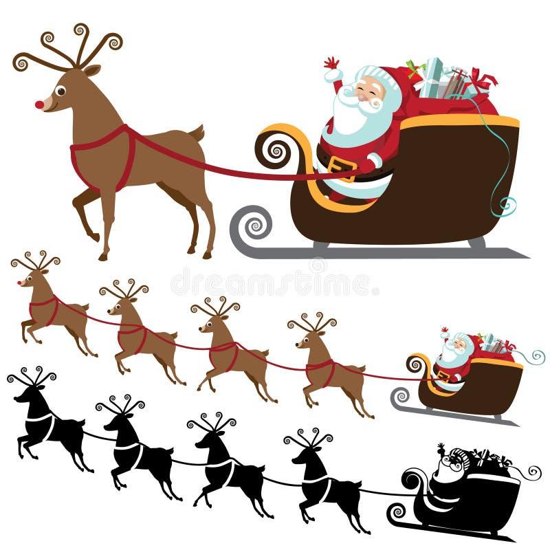 Kreskówka Święty Mikołaj z latającą reniferową kolekcją ilustracji