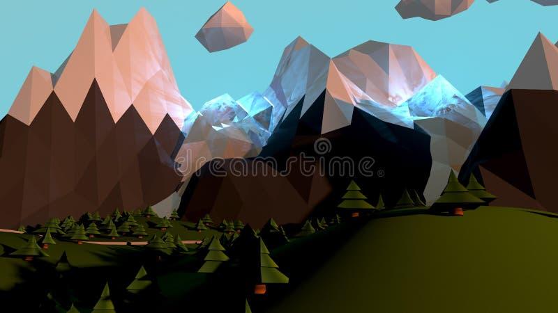 Kreskówka światu krajobraz Z Magicznymi górami I drzewami royalty ilustracja