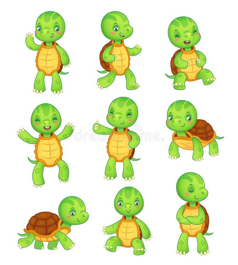 Kreskówka żółw Śliczni dzieciaków żółwie, dzikie zwierzę charakter - set Tortoise charakterów wektorowa zwierzęca ilustracyjna ko royalty ilustracja