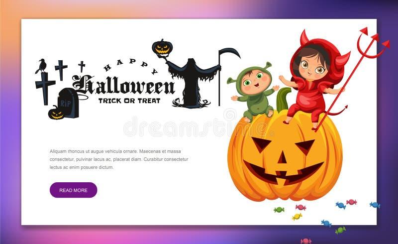 Kreskówka żartuje obsiadanie na Halloweenowym dyniowym plakacie Szczęśliwi dzieci wewnątrz Święcą tajemnica kostiumy shrek i diab ilustracji