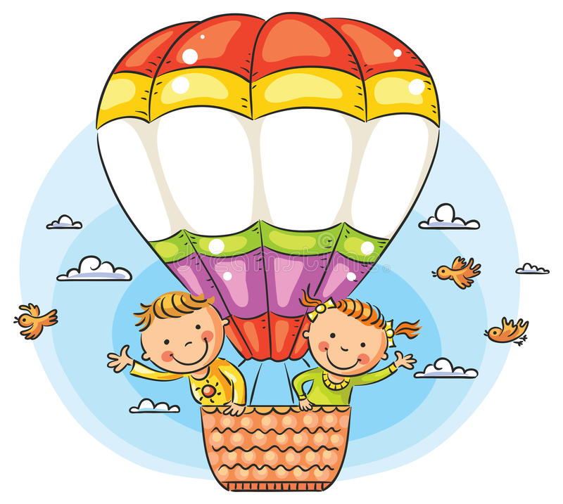 Kreskówka żartuje podróżowanie powietrzem z kopii przestrzenią przez balon royalty ilustracja