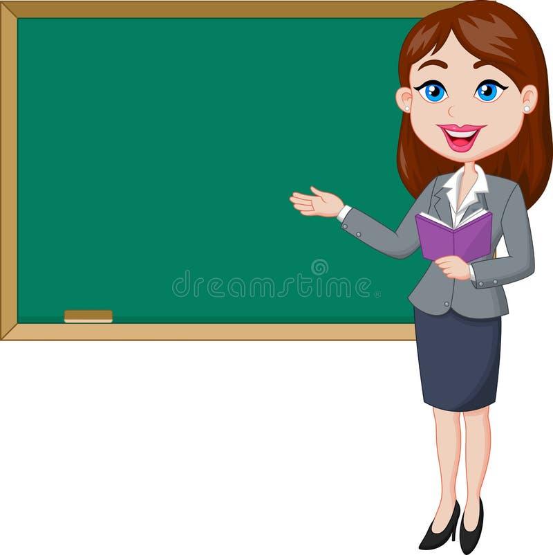 Kreskówka żeńskiego nauczyciela pozycja obok blackboard royalty ilustracja