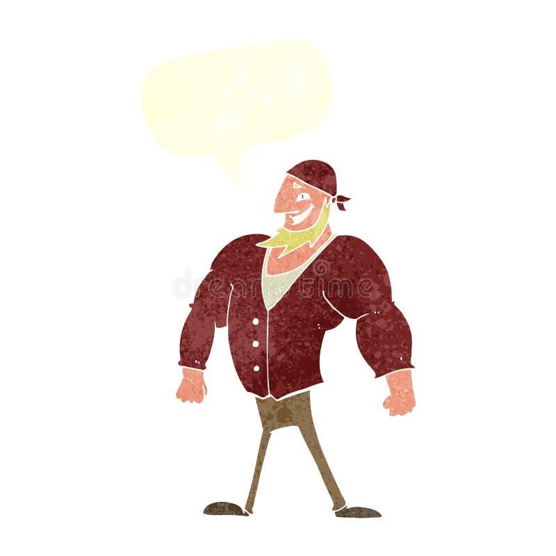 kreskówka żeglarza waleczny mężczyzna z mowa bąblem royalty ilustracja