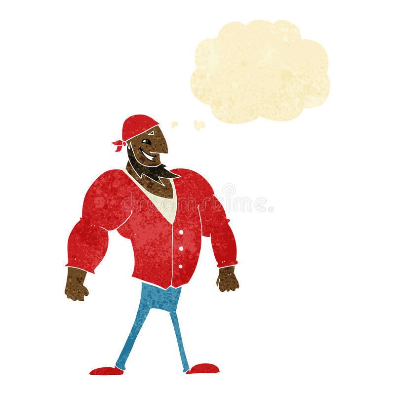 kreskówka żeglarza waleczny mężczyzna z myśl bąblem ilustracja wektor