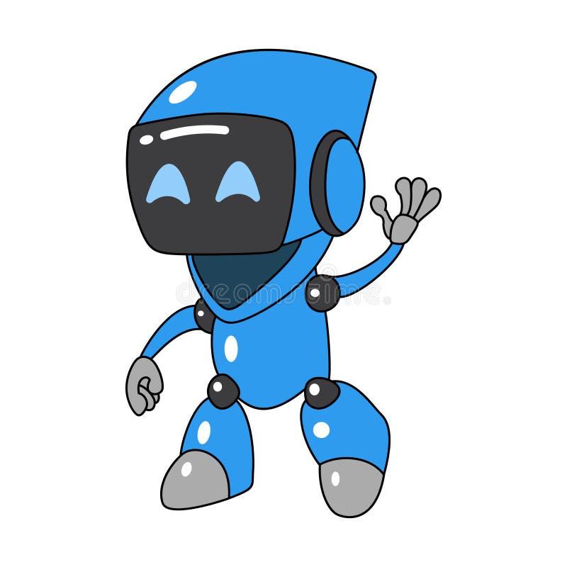 Kreskówka życzliwy robot macha jego ręka royalty ilustracja