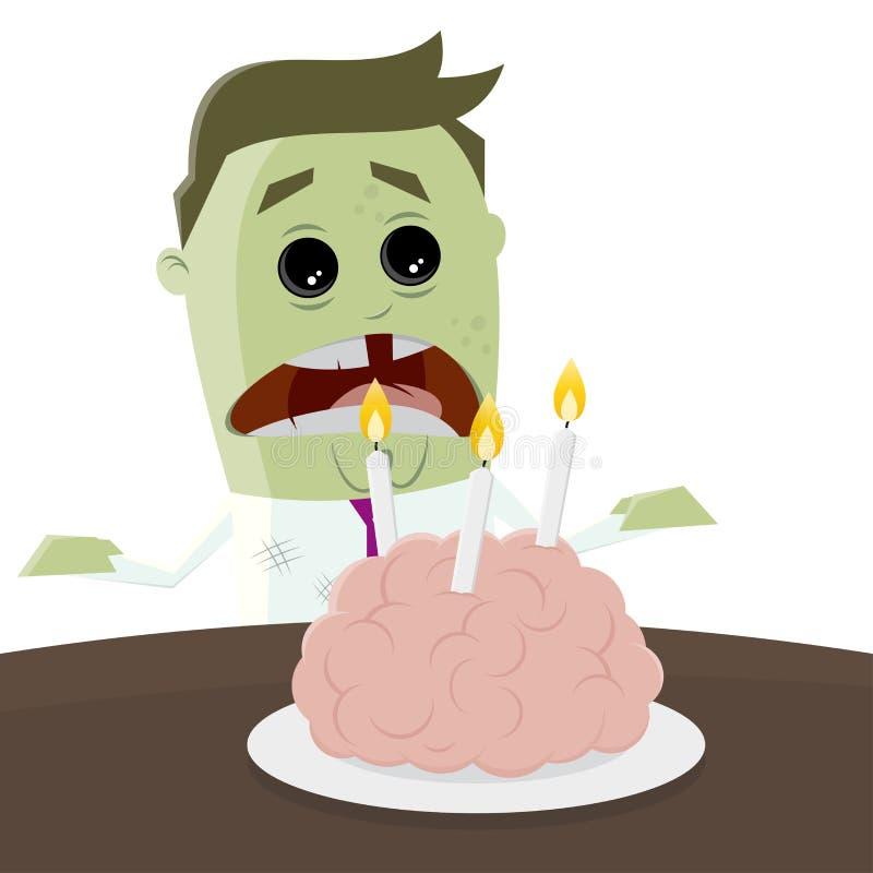 Kreskówka żywy trup świętuje jego urodziny z móżdżkowym tortem ilustracji