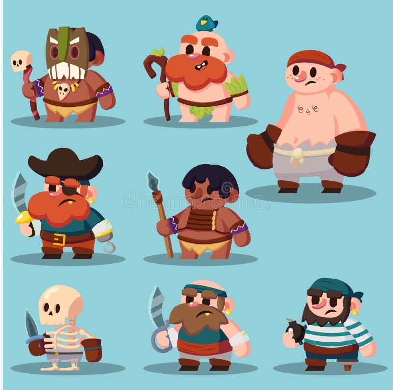 Kreskówka aborygen, szamanu pirata gemowego sprite ikony śliczny set ilustracji