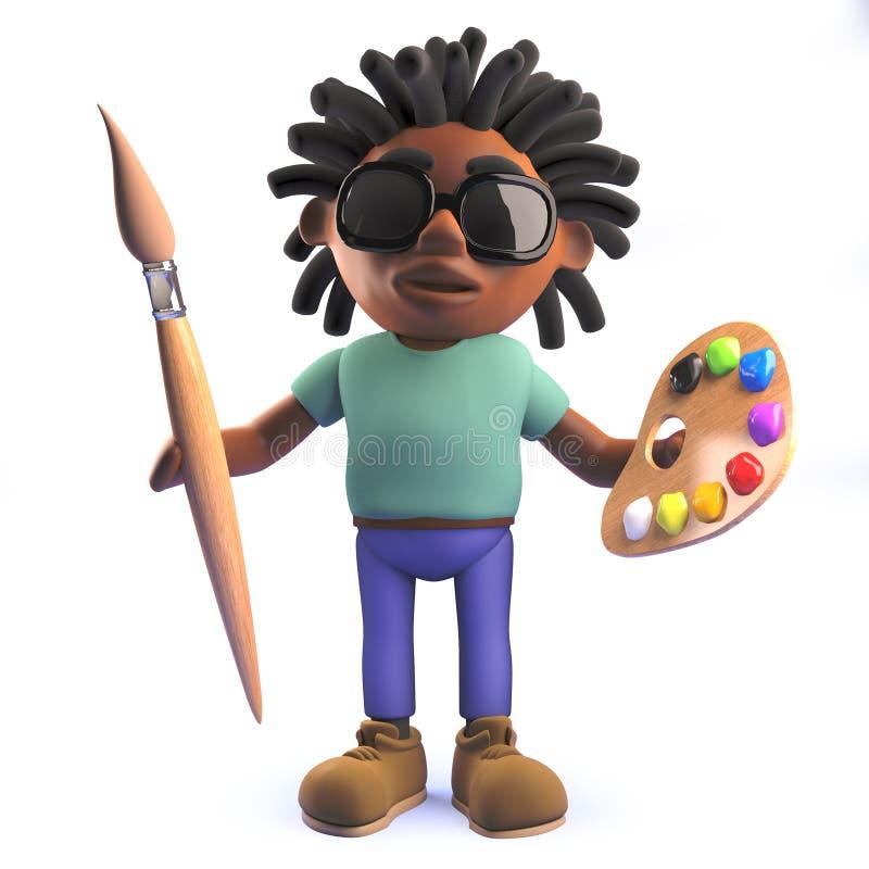 Kreskówka Afrykański rastafarian mężczyzna trzyma farby paletę i muśnięcie w 3d ilustracja wektor