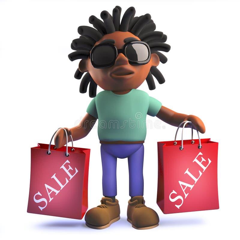 Kreskówka Afrykański rastafarian mężczyzna w 3d mienia torbach na zakupy od sprzedaży ilustracji