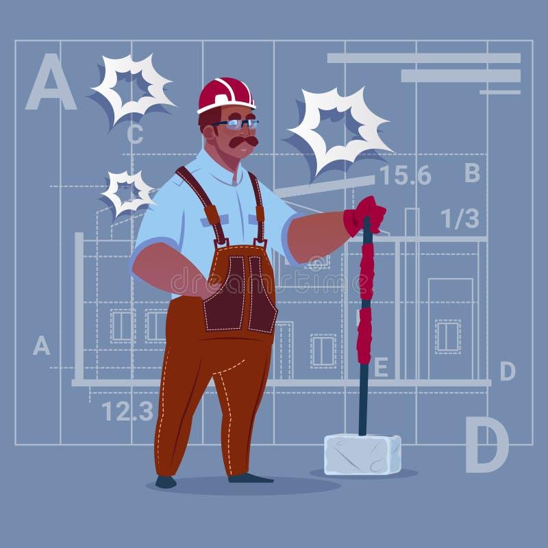 Kreskówka amerykanina afrykańskiego pochodzenia budowniczy Trzyma Dużego Młoteczkowego pracownika budowlanego Nad Abstrakcjonisty royalty ilustracja