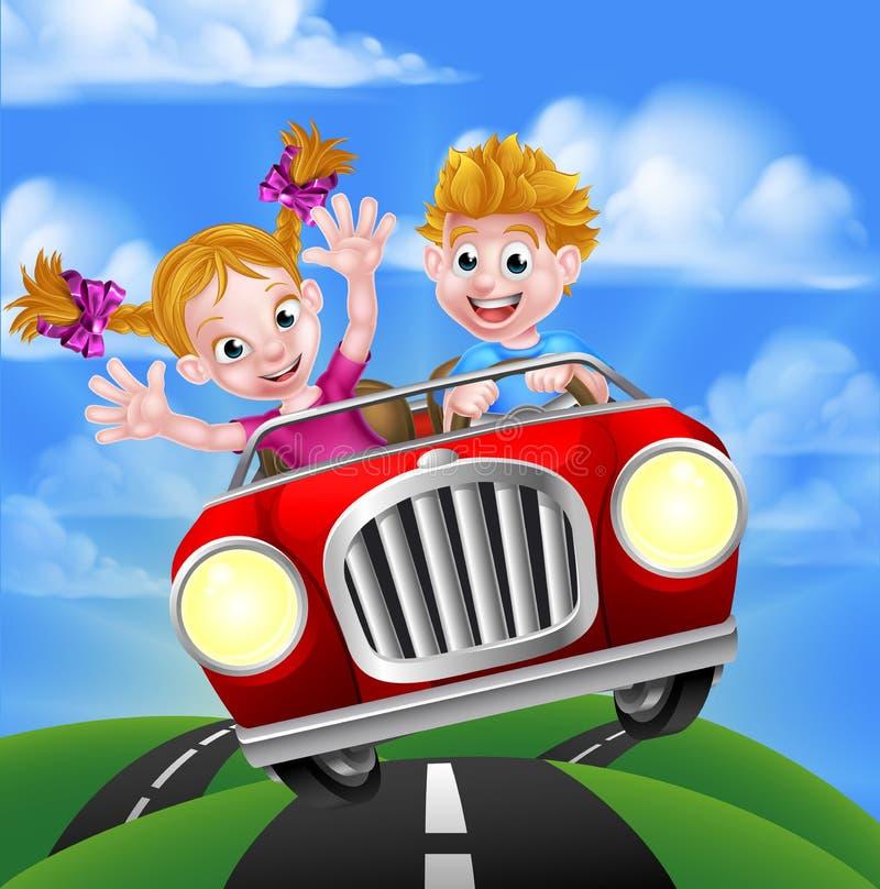 Kreskówka Żartuje Napędowego samochód ilustracji