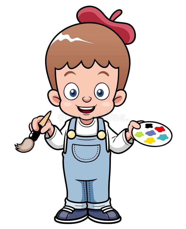 Kreskówka artysty chłopiec royalty ilustracja