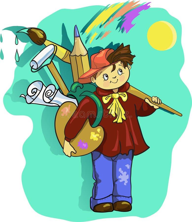 Kreskówka artysty chłopiec klamerki sztuki Wektorowa ilustracja z muśnięciem ilustracji
