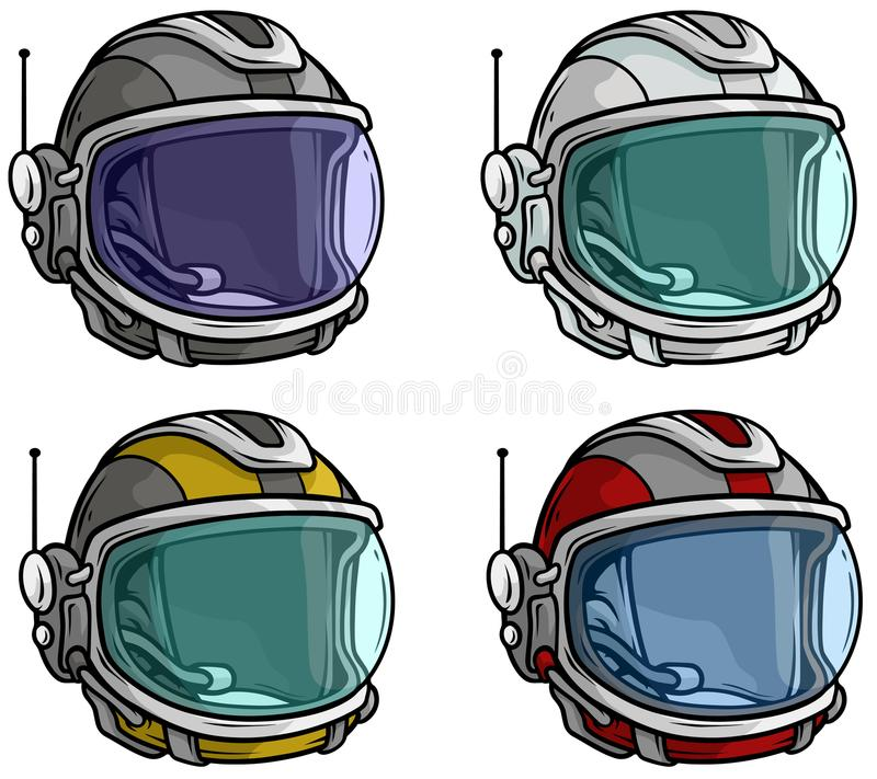 Kreskówka astronauta astronautycznego hełma ikony wektorowy set royalty ilustracja