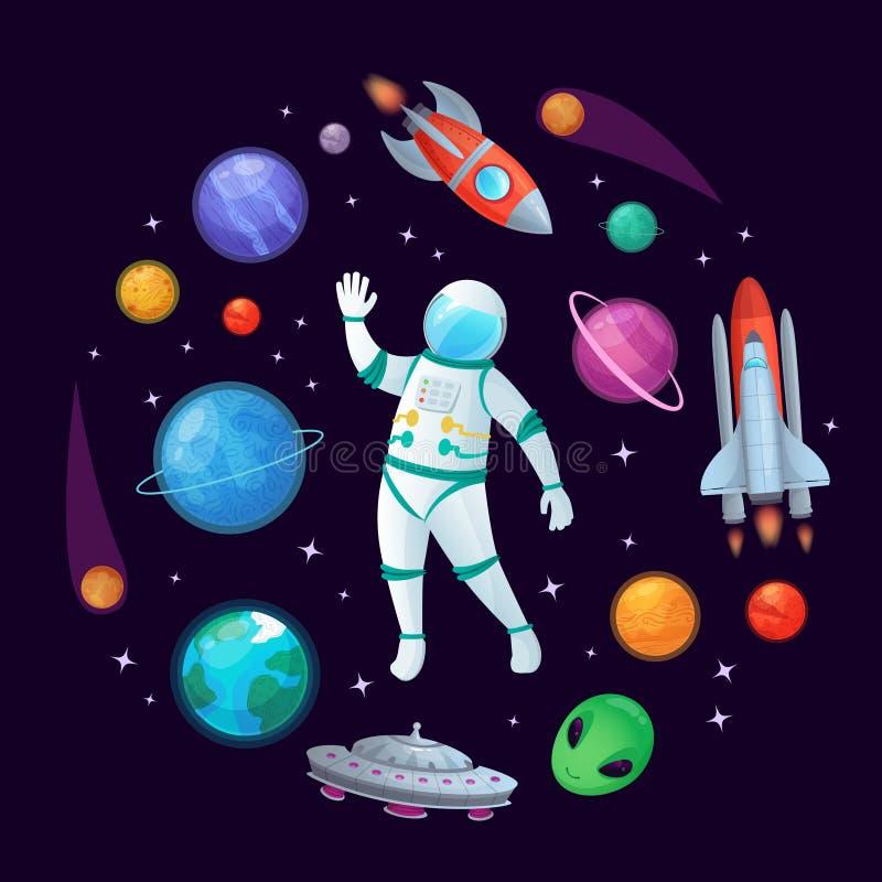 Kreskówka astronauta w przestrzeni Kosmita rakieta, stary ufo statek kosmiczny i planeta wektoru ilustracja, ilustracji