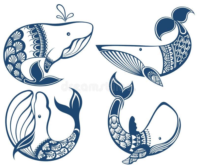 Kreskówka błękitnego wieloryba set ilustracja wektor