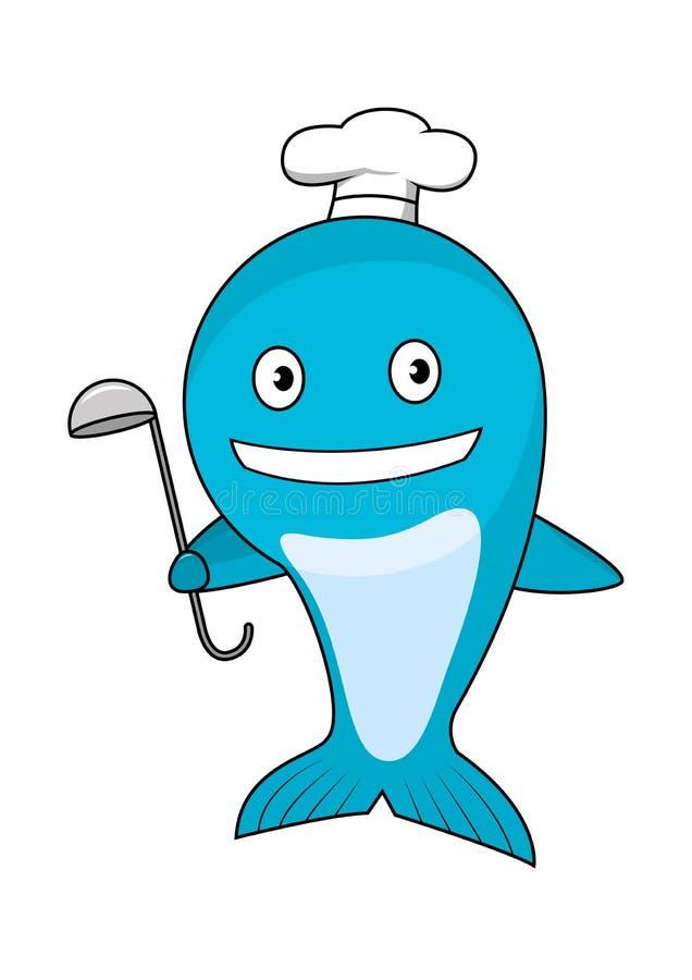 Kreskówka błękitnego wieloryba szef kuchni jest ubranym kucbarskiego kapelusz royalty ilustracja