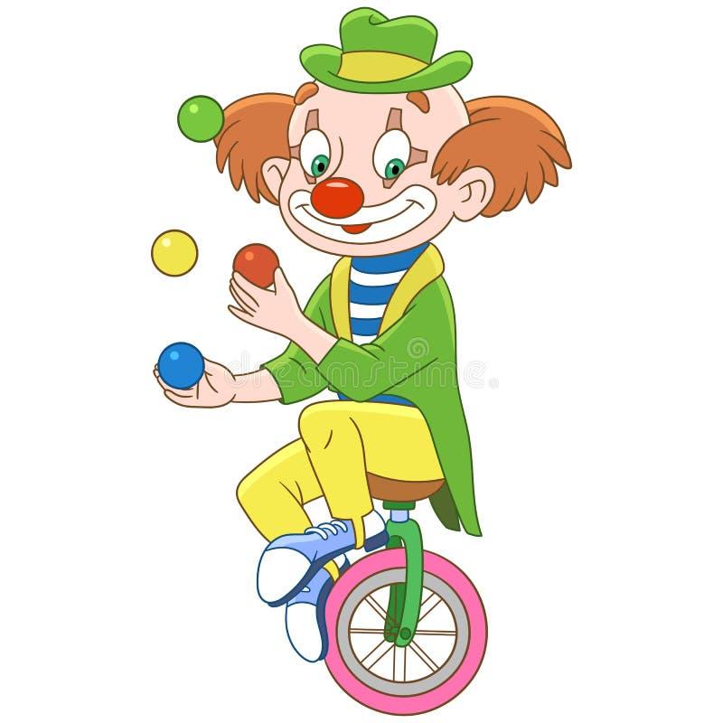 Kreskówka błazen żongluje z piłkami ilustracja wektor