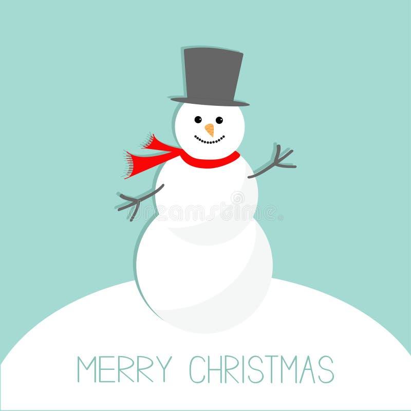 Kreskówka bałwan na snowdrift niebieska tła Wesoło kartki bożonarodzeniowa Płaski projekt ilustracji