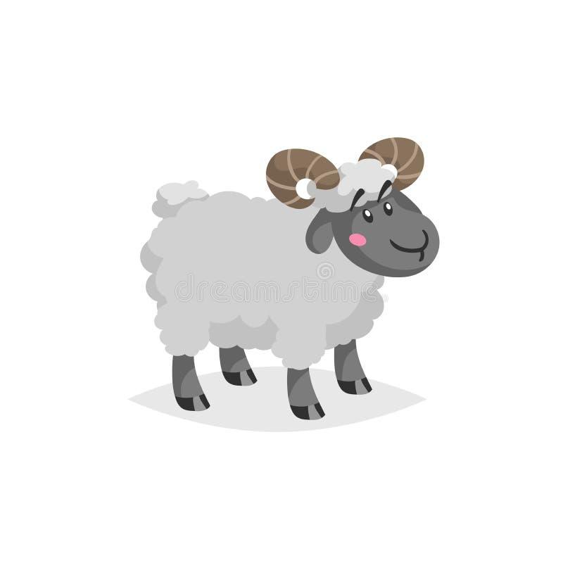 Kreskówka baran z rogami Wooly śliczny męski zwierzęta gospodarskie pobyt Wektorowa modna projekt ilustracja ilustracja wektor