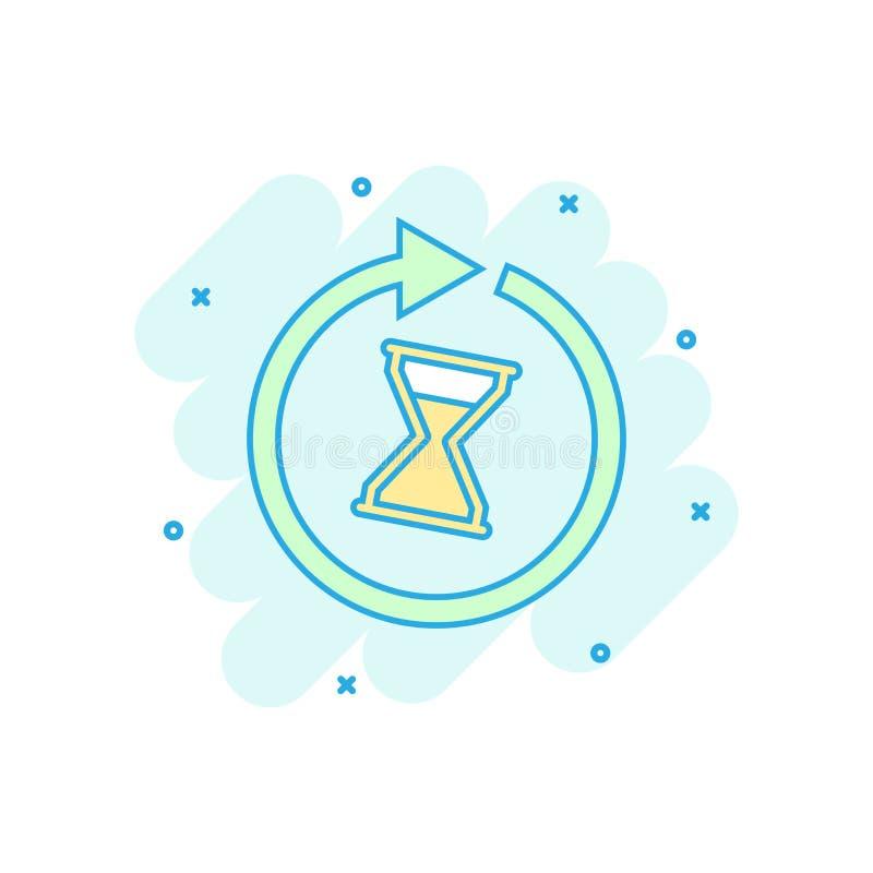 Kreskówka barwiąca czas ikona w komiczka stylu Hourglass ilustracja ilustracja wektor