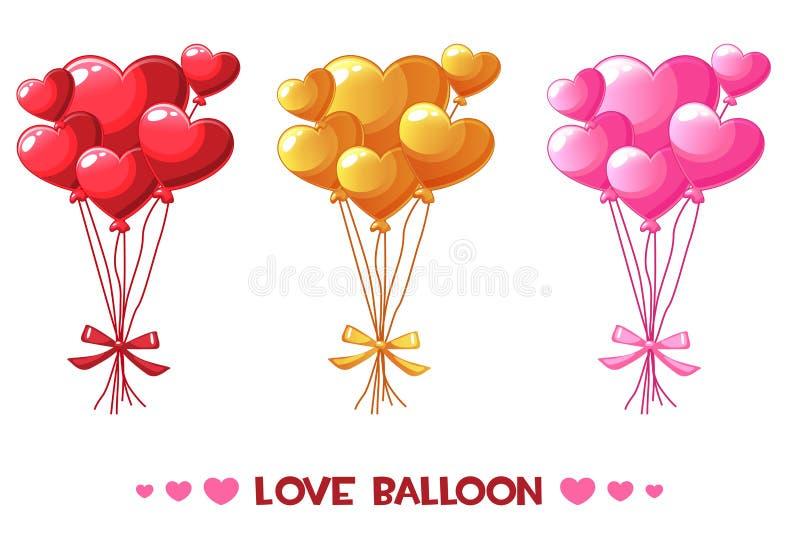 Kreskówka barwiący kierowi balony, ustawiają Szczęśliwego walentynka dzień ilustracja wektor