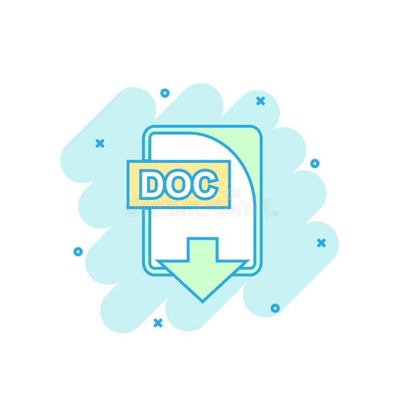 Kreskówka barwił DOC kartoteki ikonę w komiczka stylu Doc ściągania illus ilustracja wektor
