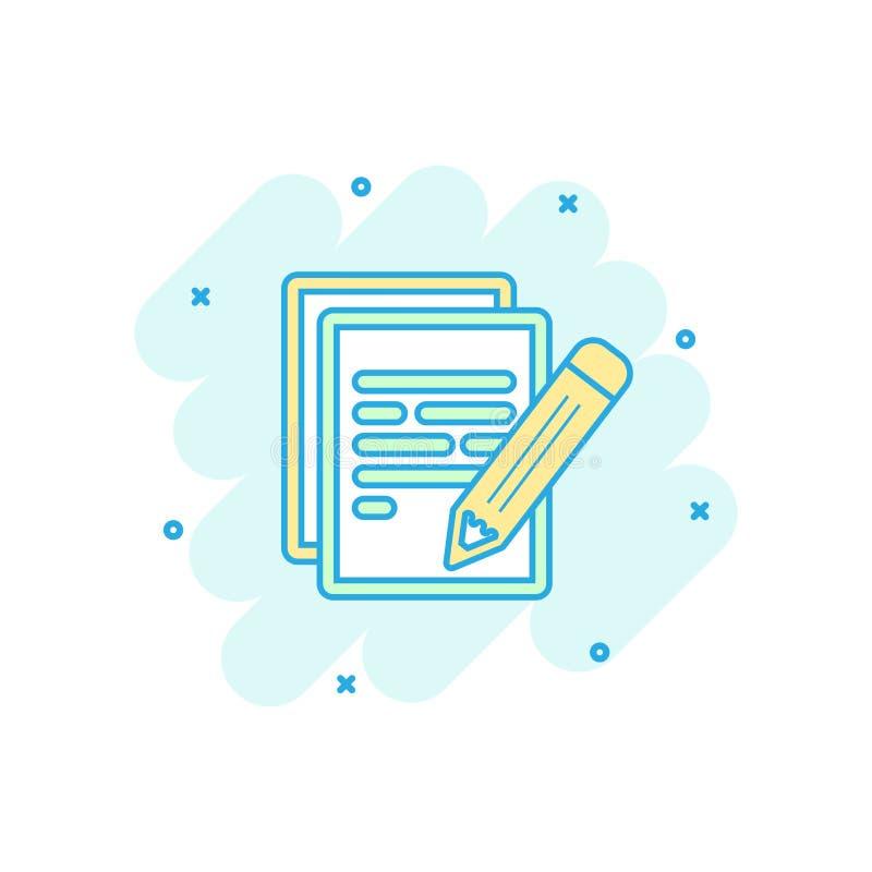 Kreskówka barwił dokument z ołówkową ikoną w komiczka stylu Notatka ja ilustracja wektor