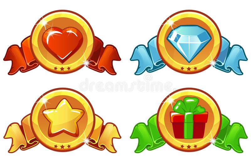 Kreskówka barwił ikona projekt dla gry, UI sztandaru, gwiazdy, upału, prezenta i diamentu ikon ustawiać, Wektorowych, royalty ilustracja